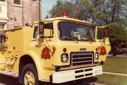This is the only photo I have of this ill fated rig . This 1975 International Cargostar/ King Seagrave 1050/500 pump had a short career as Engine 4 until it was involved in a fatal collision with an ambulance. It was written off and sold. The Dofasco Steel plant in Hamilton bought it and ran it as their pump for many years.