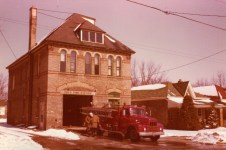 Sitting on the apron of old Station 3 on Bruce St is the 1954 International R185/Bickle Seagrave 500/500 pump that London acquired when Byron was annexed in 1961. It continued to run from the Byron hall as Engine 6 until the mid seventies. It then was a spare pump for a few years. It is filling in for Engine 3 in this pic.