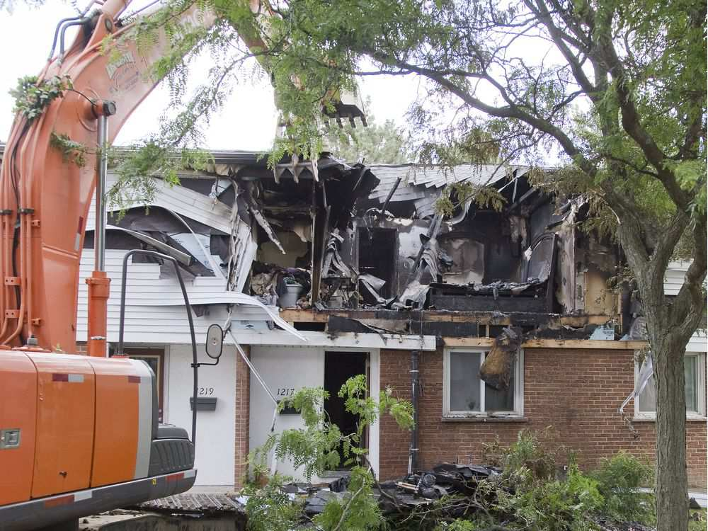 A townhouse was destroyed and five neighbouring units damaged in an explosion Aug. 15, 2014.