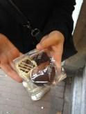 A dark chocolate and rhubarb, milk chocolate and hazelnut, and the white chocolate basket filled with dark chocolate ganache.
