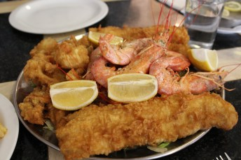 Seafood Platter: cod, haddock, shrimp, and calamari!