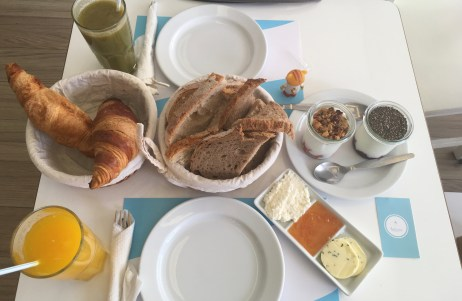 It was just so delicious- bread, croissants, and jams.