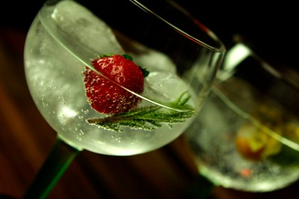 G&T with strawberry & rosemary