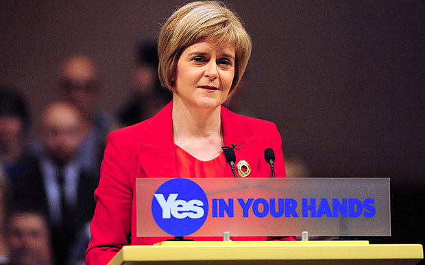 Scottish First Minister Nicola Sturgeon campaigning for the 'Yes' vote.