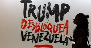 Graffiti in Venezuela displaying anger to US freezing government assets.