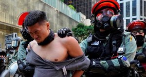 Hong Kong Protester gets shot point blank