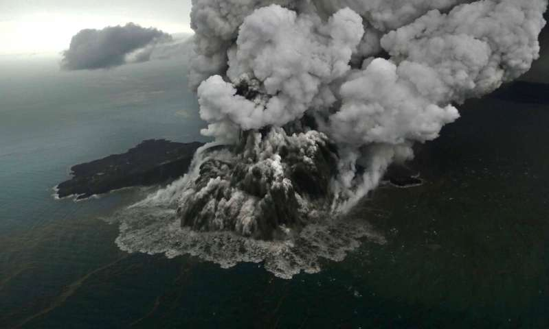 Anak Krakatau in Indonesia erupts