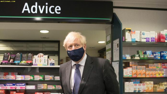 Boris Johnson wearing face mask; covid restrictions