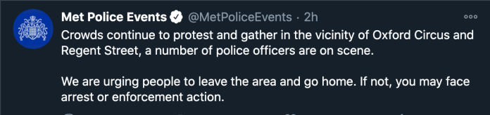 Metropolitan Police Twitter Page; London anti-lockdown protests lead to 60 arrests