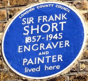 Blue Plaque: Sir Frank Short, 1857-1945, Engraver and Painter lived here