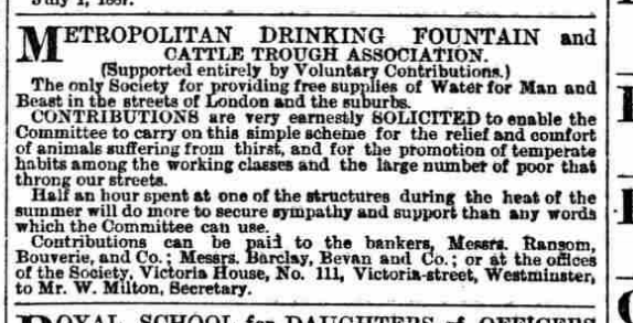 Metropolitan Drinking Fountain and Cattle Trough Association ad 1887