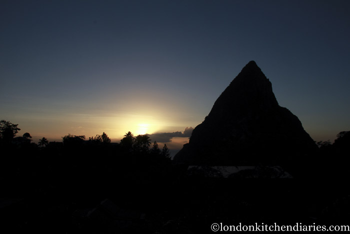 Sunset behind the Gros Piton St Lucia Carribean