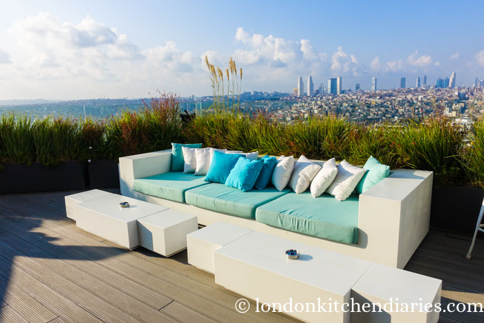 Comfy Sofa at Rooftop Bar Mikla in Istanbul Turkey