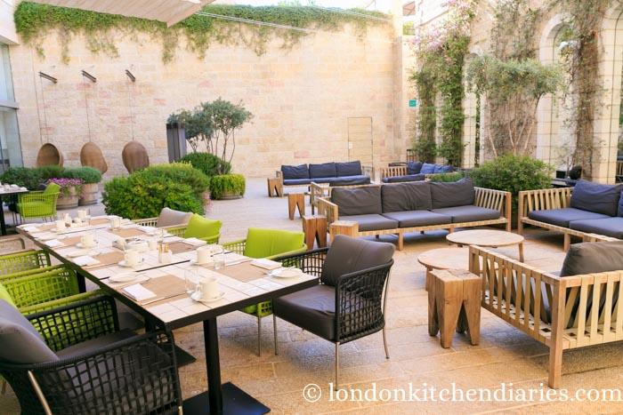 Outside patio at Mamilla Hotel Jerusalem