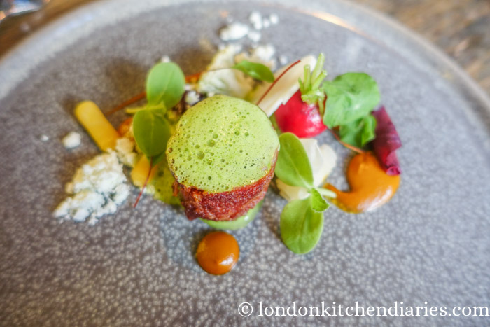 Rabbit Ballotine with pickled vegetables