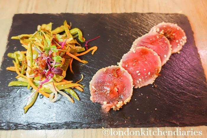 Sesame seared carpaccio of yellowfin tuna at Vivat Bacchus
