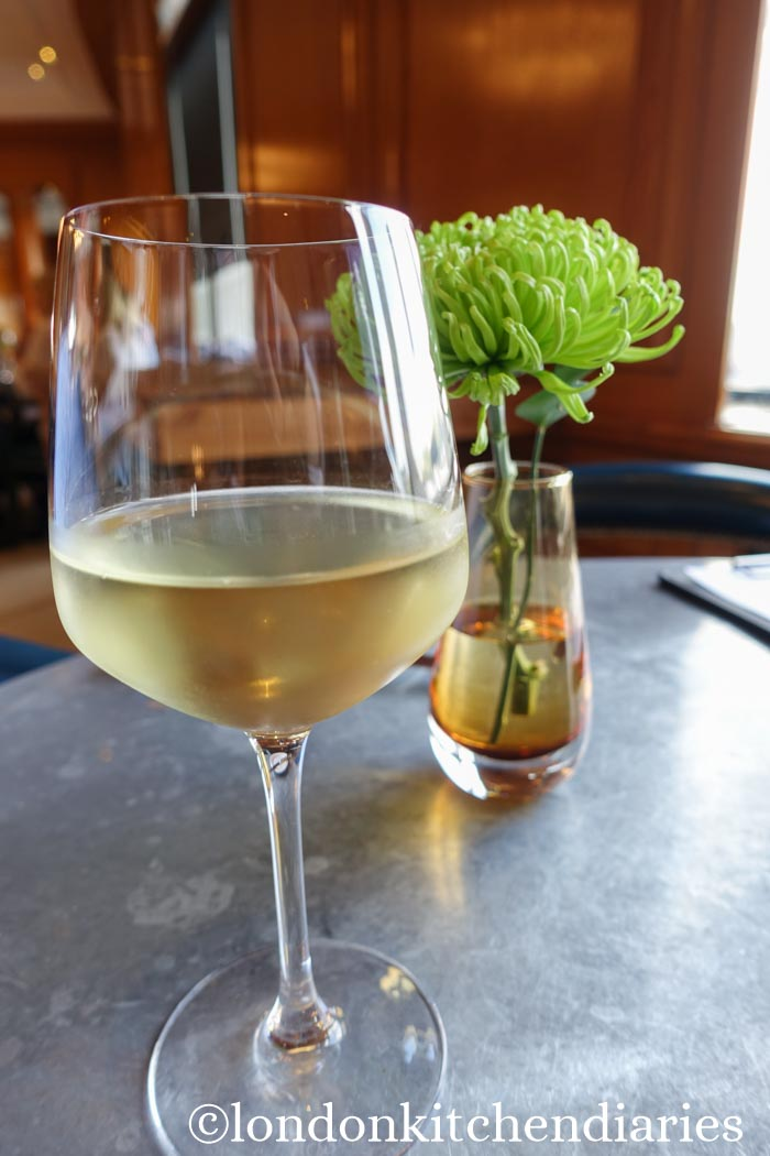 A glass of white wine at Gillray's Restaurant & Bar London
