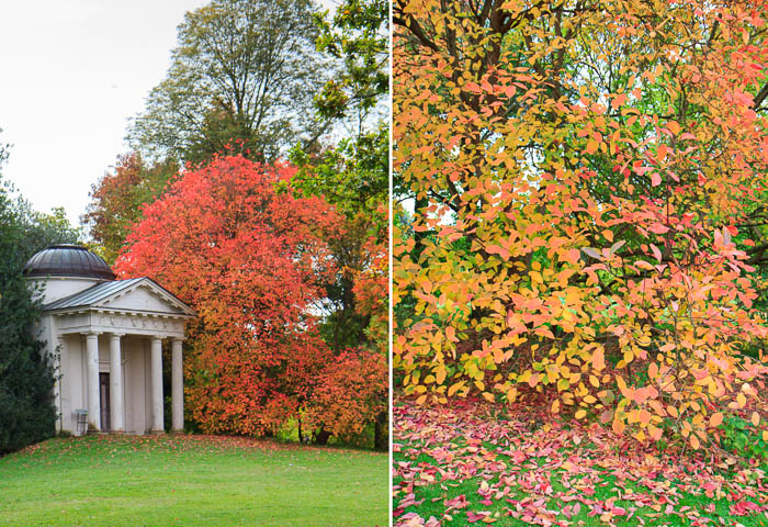 Temple of Bellona in autumn at Kew Gardens London