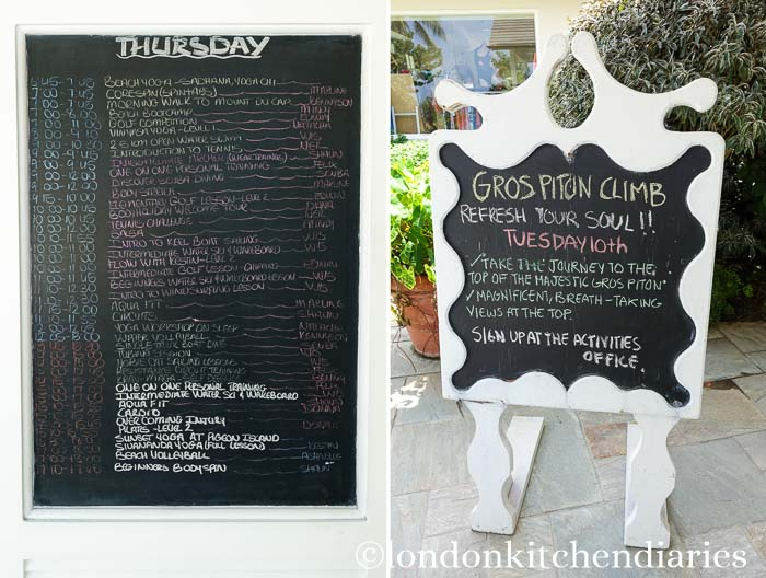 Activities at The Body Holiday on a chalkboard