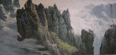 Mountain scene by Son U Yong