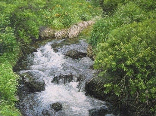 Embroidery: Woodland river