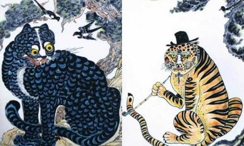 Tiger minhwa paintings