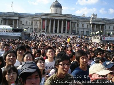 The crowd in Trafalgar Square