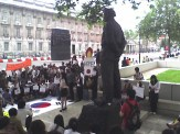 The protestors and the Cenotaph
