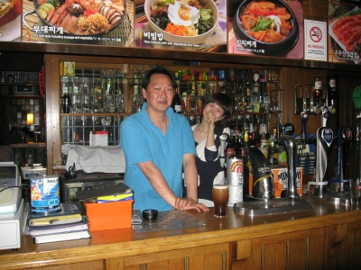 Inside the Old Justice - the owner and barmaid