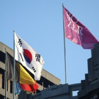 The Taegukgi flies alongside the Belgian flag on the Bozar museum