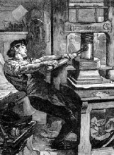 The hand-operated Gutenberg press