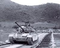 A British Centurion Tank crosses the Imjin