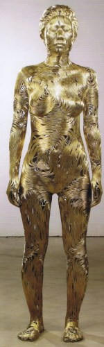 Park Seungmo: Kim Mi-na. (Bronze wire & fiberglass, 167 x 48 x 54 cm)