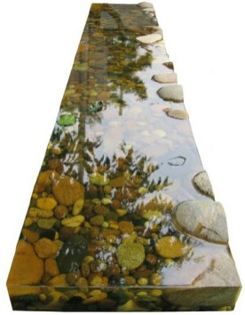 Kim Yeon: Waterside III (resin & pebbles, 10 x 180 x 30cm)