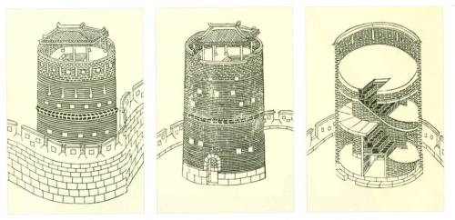 Plans of the Kongsimdon tower, from the Hwaseong Fortress Uigwe (1801)
