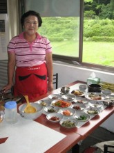 Kim Ok Ja in her restaurant