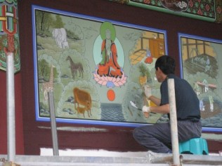Haeinsa temple paintings being restored