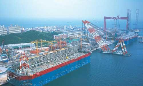 The Hyundai shipbuilding yard at Ulsan