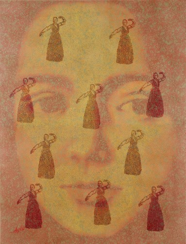 Lee Gilwoo: Dancer in nature (2009) Korean paper, soldering iron, indian ink, coloring, paste, coating. 135X170 cm