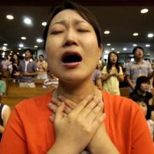 Prayers in a Korean church