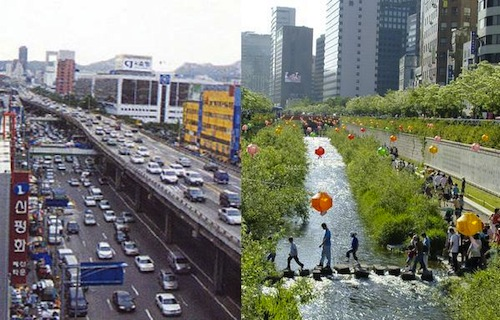 The Cheonggyecheon, before and after