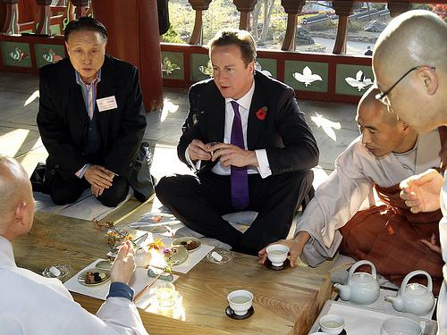 David Cameron's tea ceremony in Bongeunsa, Seoul