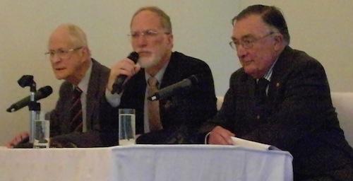 James Grayson between war veterans Michael Hickey and John Bowler