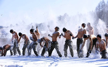 South Korean special forces taking a snow bath