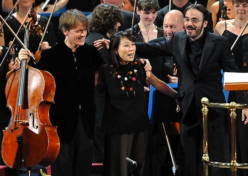 Unsuk Chin (centre) at a BBC Prom concert. Image credit: Chris Christodoulou