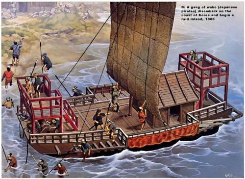 Japanese pirate raid, c 1380