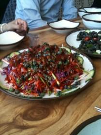 Daseulgi salad with a gochujang sauce