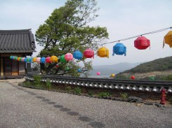 A few lanterns are out in anticipation of Buddha's birthday at Jeongchuiam