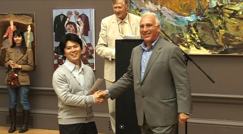 Daehun Kwon receives the Jack Goldhill award for sculpture