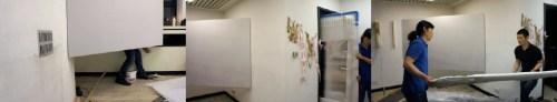 Soon-hak Kwon's work being installed at Hanmi Gallery